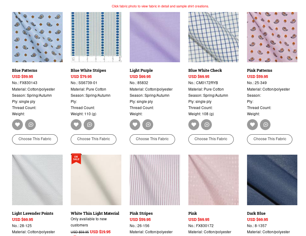 Modern Tailor fabric selection